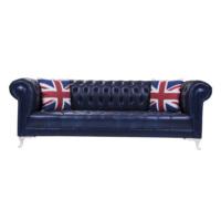 3A Mobilya Dark Blue Leather Chesterfield