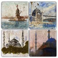 Oscar Stone İstanbul 7 Bardak Altlığı