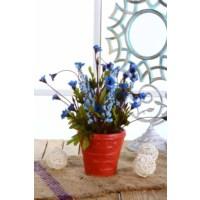Gold Case Seramik Kırmızı Saksılı Kırçiçeği Mavi Bymst92