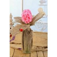 Gold Case Natural Süslemeli Uzun Cam Vazolu Çiçek Pembe Bymst101