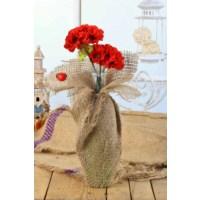 Gold Case Natural Süslemeli Uzun Cam Vazolu Çiçek Kırmızı Bymst102