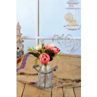 Gold Case Sütlük Tipi Cam Vazolu Çiçek Pembe Bymst104