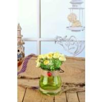Gold Case Hasır İpli Yeşil Cam Vazolu Çiçek Demeti Sarı Bymst106