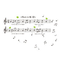 Hediyelik Duvar Sticker Notalı Music is My Life WS-NM