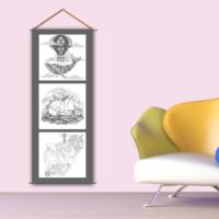 K Dekorasyon Kbcas1022 Askılı Boyanabilir Kanvas Poster (Kalem Hediyeli) - 30X90 Cm