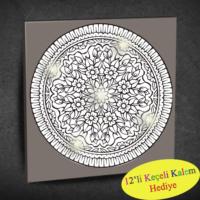 Duvar Tasarım 1051 Led Işıklı Mandala Boyanabilir Kanvas Tablo (Kalem Hediyeli) - 35x35 cm