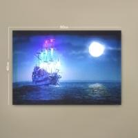 Deco Mavi Gece ve Deniz Led Işıklı Tablo
