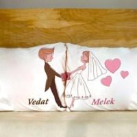 BuldumBuldum Ömür Boyu El Ele Yastık Seti - Sevgili Modeli