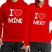 BuldumBuldum Kapşonlu Sevgili Sweatshirtleri - Kırmızı - I Love You