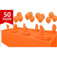 Parti Şöleni Turuncu Plastik 50 Kişilik Set