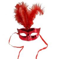 Tvs Tüylü Balo Maskesi Kırmızı Renk