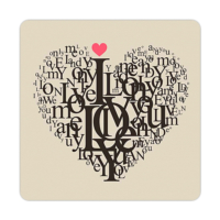 Fotografyabaskı Aşk Sözleri Bardak Altlığı 4'lü Set