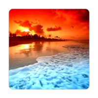 Fotografyabaskı Okyanus Kıyısı Bardak Altlığı Baskı 4'lü Set