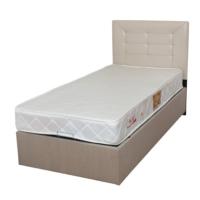 NAVdecoration Avrasya Tek Kişilik 90X190 Cm'Lik Baza + Başlık + Yatak Takımı Krem Başlıklı