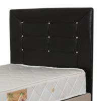 NAVdecoration Avrasya Tek Kişilik 90X190 Cm'Lik Baza + Başlık + Yatak Takımı Siyah Başlıklı
