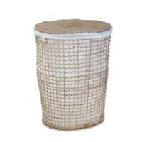 SeyrekÖrgülü Hasır Çamaşır Sepeti Oval Kumaşlı Natural Büyük