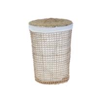 SeyrekÖrgülü Hasır Çamaşır Sepeti Oval Kumaşlı Natural Küçük