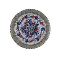 El Yapımı 13 cm Seramik ve Gümüş Kaplama Tabak