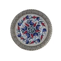 El Yapımı 22 cm Seramik ve Gümüş Kaplama Tabak