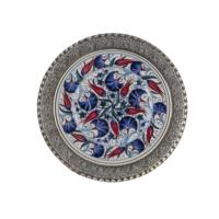 El Yapımı 30 cm Seramik ve Gümüş Kaplama Tabak