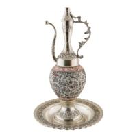 El Yapımı Seramik ve Gümüş Kaplama 40 cm İbrik Seti