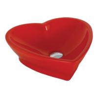 Creavit Set Üstü Kalp Lavabo 45X45 Cm Kırmızı