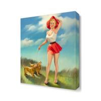 Dekor Sevgisi Harry Ekman Köpekli Kız Canvas Tablo 45x30 cm