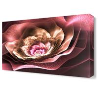 Dekor Sevgisi Pembe Işıklı Çiçek Tablosu 45x30 cm