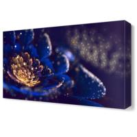 Dekor Sevgisi Pırıltılı Mavi Çiçek Tablosu 45x30 cm