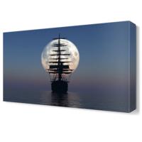 Dekor Sevgisi Ay ve Gemi Tablosu 45x30 cm