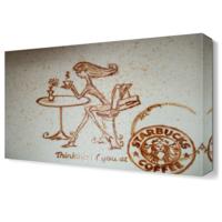 Dekor Sevgisi Kahve Çizimi Tablosu 45x30 cm