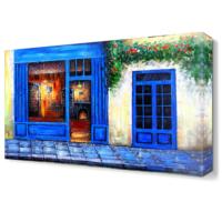 Dekor Sevgisi Mavi Dükkan Tablosu 45x30 cm