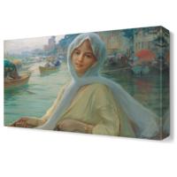 Dekor Sevgisi Kayıktaki Kadın Tablosu 45x30 cm