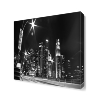Dekor Sevgisi Siyah Beyaz Şehir Manzara Tablosu 40x40 cm