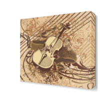 Dekor Sevgisi Kahverengi Keman Tablosu 40x40 cm