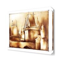 Dekor Sevgisi Kahverengi Evler Tablosu 40x40 cm