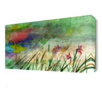 Dekor Sevgisi Yeşil Çiçekler Tablosu 45x30 cm