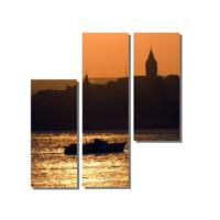 Dekor Sevgisi Galata Kulesi ve Gün Batmı Tablosu 100x100 cm