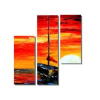 Dekor Sevgisi Batan Güneş ve Kayık Tablosu 100x100 cm