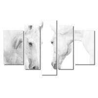 Dekor Sevgisi Ayna Karşısındaki Beyaz At Tablosu 84x135 cm