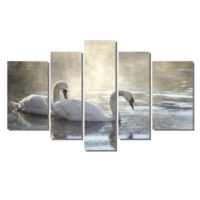 Dekor Sevgisi Göldeki Kuğular Tablolar 84x135 cm