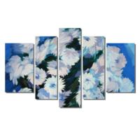 Dekor Sevgisi Beyaz Çiçek Demet Tablosu 84x135 cm