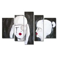 Dekor Sevgisi Kırmızı Rujlu Kadın Tablosu 84x135 cm