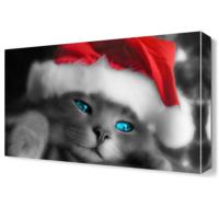 Dekor Sevgisi Noel Şapkalı Kedi Canvas Tablo 45x30 cm