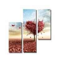 Dekor Sevgisi 3 Parçalı Kalp Ağaç Tablosu 80x80 cm