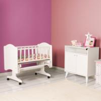 Max Home Kids Cuty Doğal Ahşap Sallanır Mini Beşik Beyaz 97,5X60X78