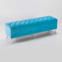 Ellnaz Mavi Sandıklı Puf 150cm