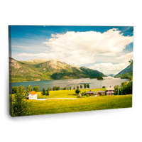 Fotografyabaskı Norweç Köyü Tablosu 75 Cm X 50 Cm Kanvas Tablo Baskı