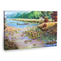 Fotografyabaskı Kıyıda Lotus Çiçekleri Tablo 75 Cm X 50 Cm Kanvas Tablo