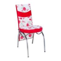 Aras Kırmızı Çiçekli Conti Sandalye